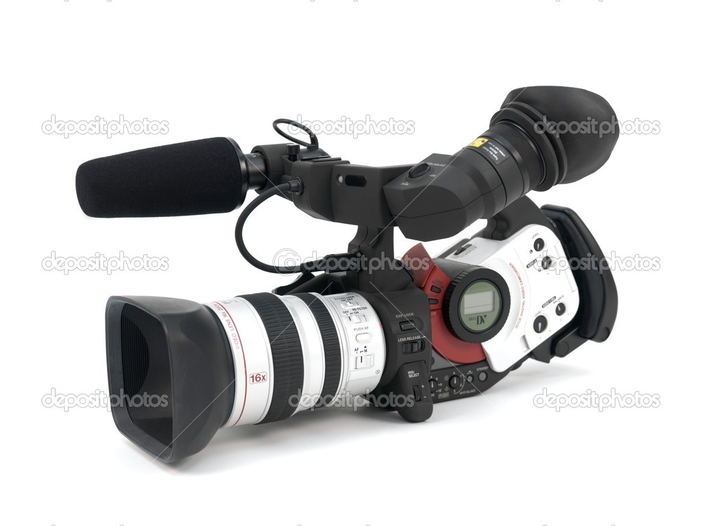 A Professional video camera isolated against a white background — Stock Photo #3712345