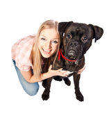 Blonde woman with boxer dog — Stock Photo