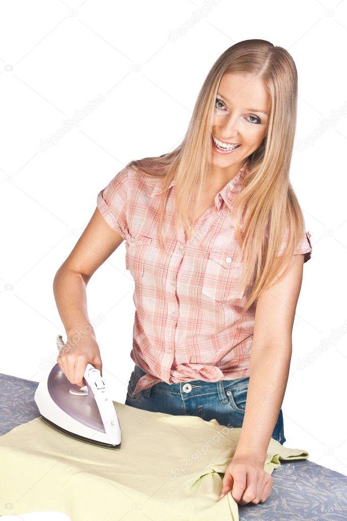 Iron Woman Woman Ironing — Photo by