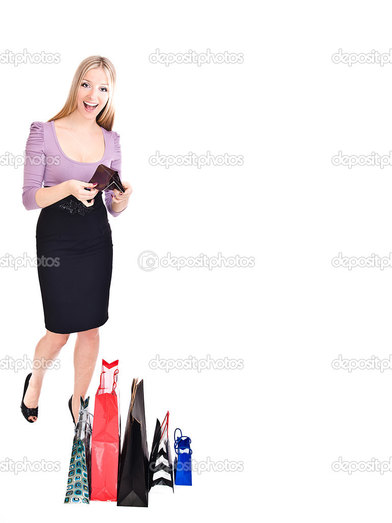 Woman  with empty purse wanting money  — Stock Photo #2810662