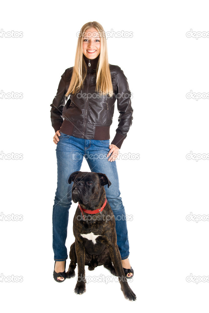 Woman in leather jacket and jeans isolated with boxer dog — Stock Photo #3059282