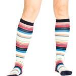Caucasian woman legs in colorful socks — Stock Photo