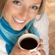 Woman with cup of coffee — Stok fotoğraf