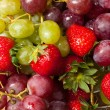 Strawberries and grapes — Stock Photo