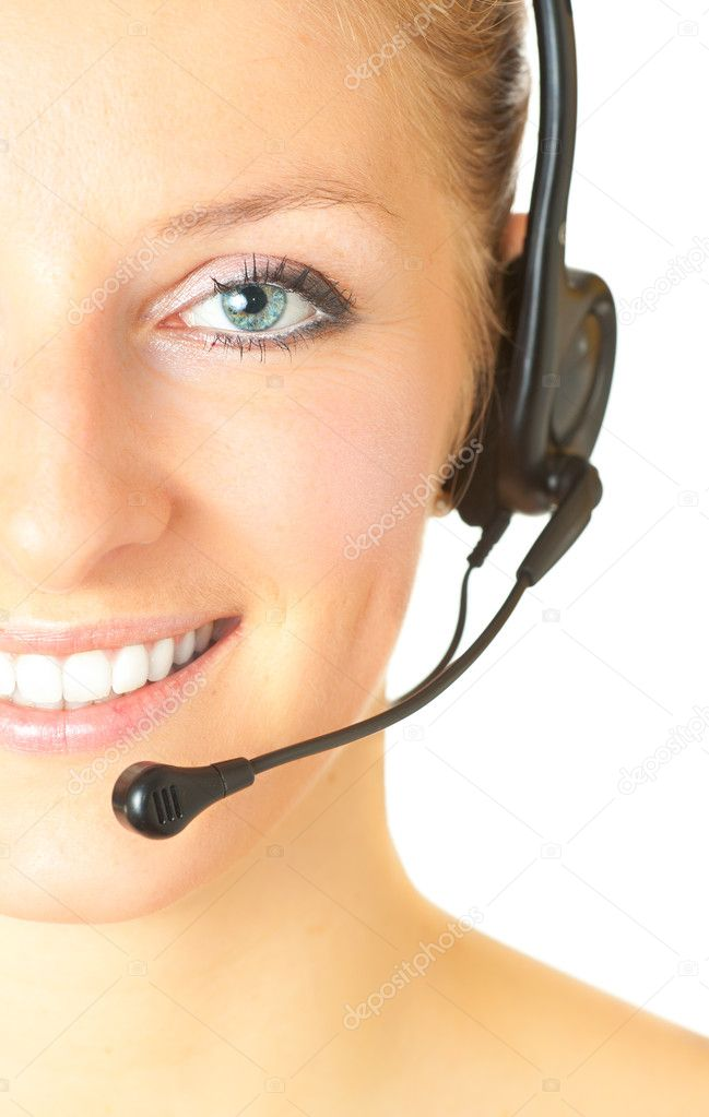 Woman consultant with headset and mic isolated — Stock Photo #3169703