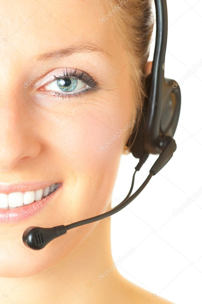 Woman consultant with headset and mic isolated  Stock Photo #3169705
