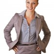 Caucasian blond businesswoman in suit on white isolated backgro — Stock Photo #3856299