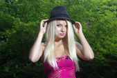 Blonde beaty in a hat — Stock Photo