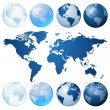 Blue globe kit — Vector de stock