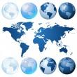Blue globe kit — Stock Vector
