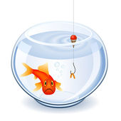 Fishing in fishbowl — Stock Vector