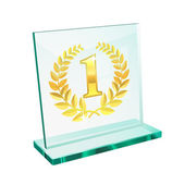 Golden trophy for first — Stock Vector