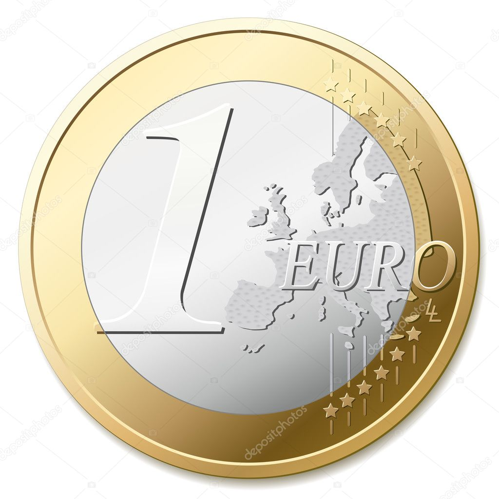The european union one euro coin, detail vector illustration — Stok Vektör #2855059