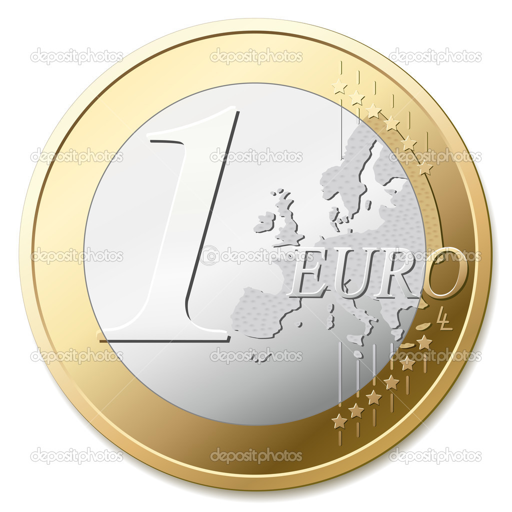 The european union one euro coin, detail vector illustration — ベクター素材ストック #2855059