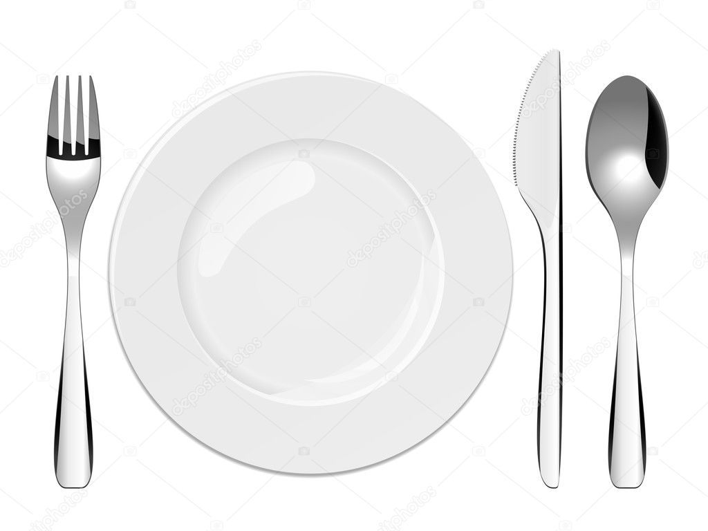 Vector illustration of utensils and porcelain plate — Stock Vector #2855153
