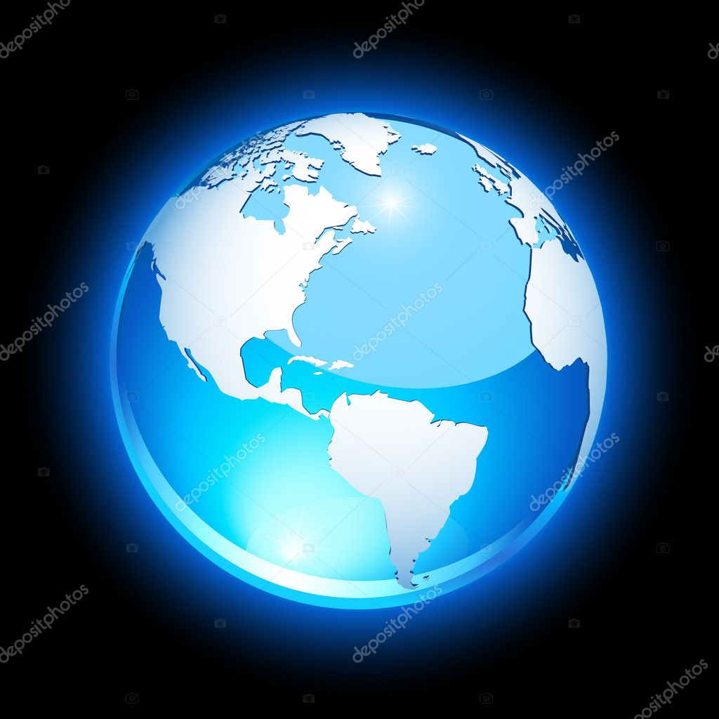 Blue crystal earth, showing Europe and Africa — Stock Vector #2855160