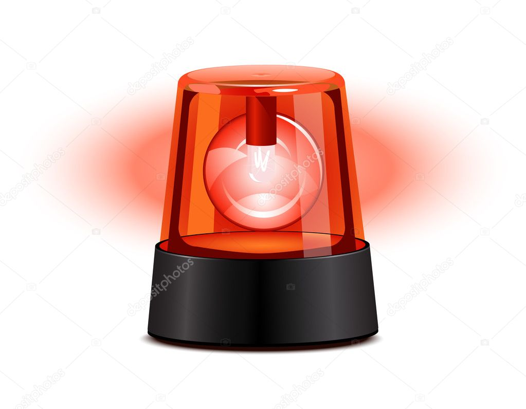 Red flashing light over a white background — Stock Vector #2855206