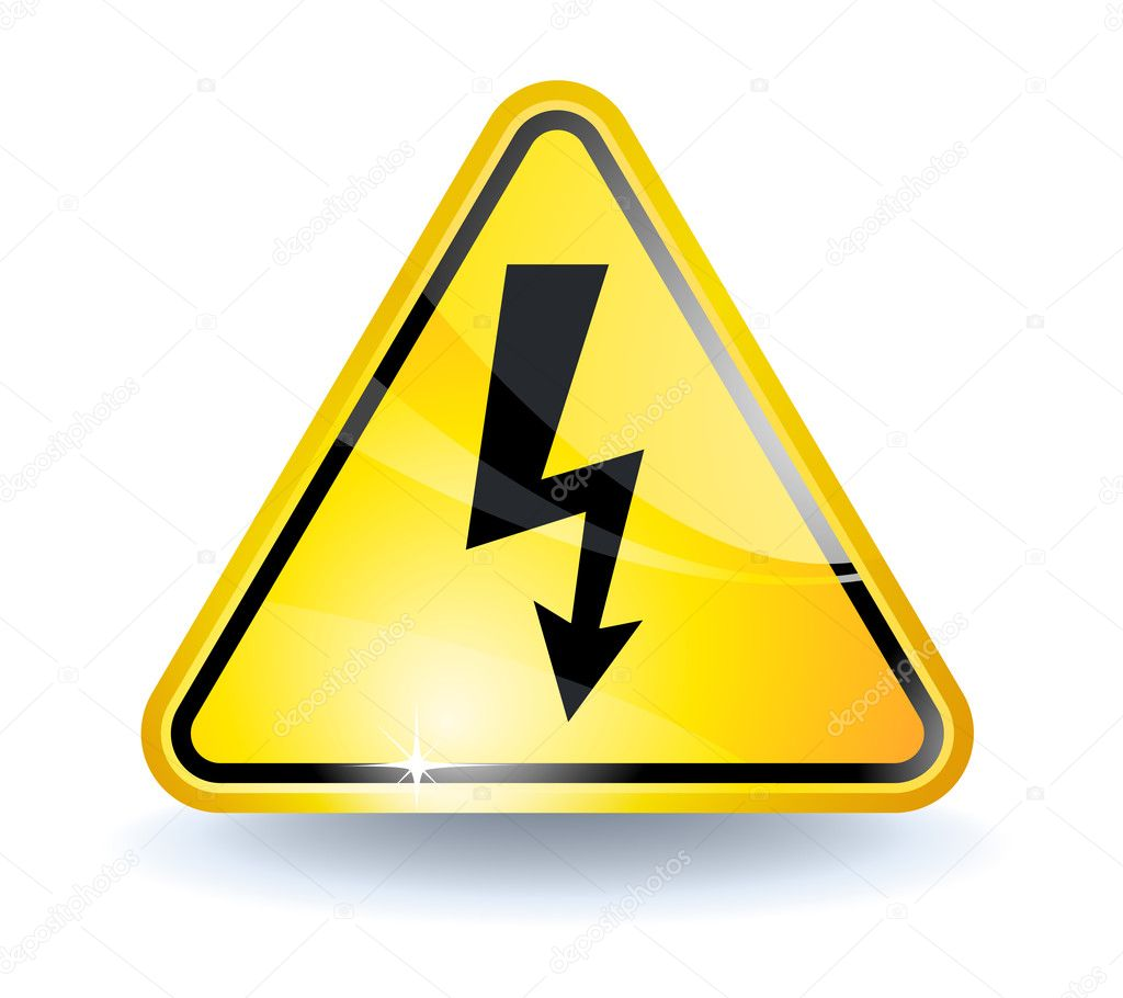 High voltage sign with glossy yellow surface   #2855293