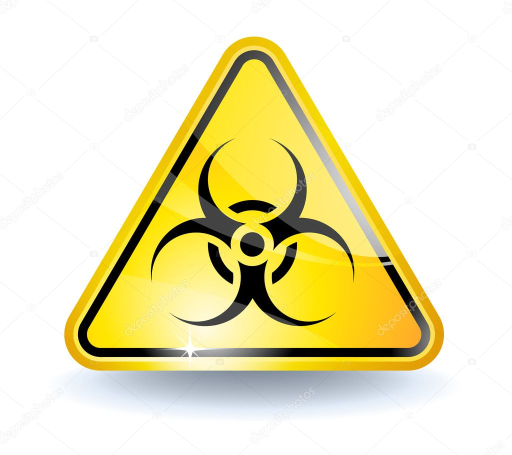 Biohazard sign with glossy yellow surface  Stock Vector #2855304