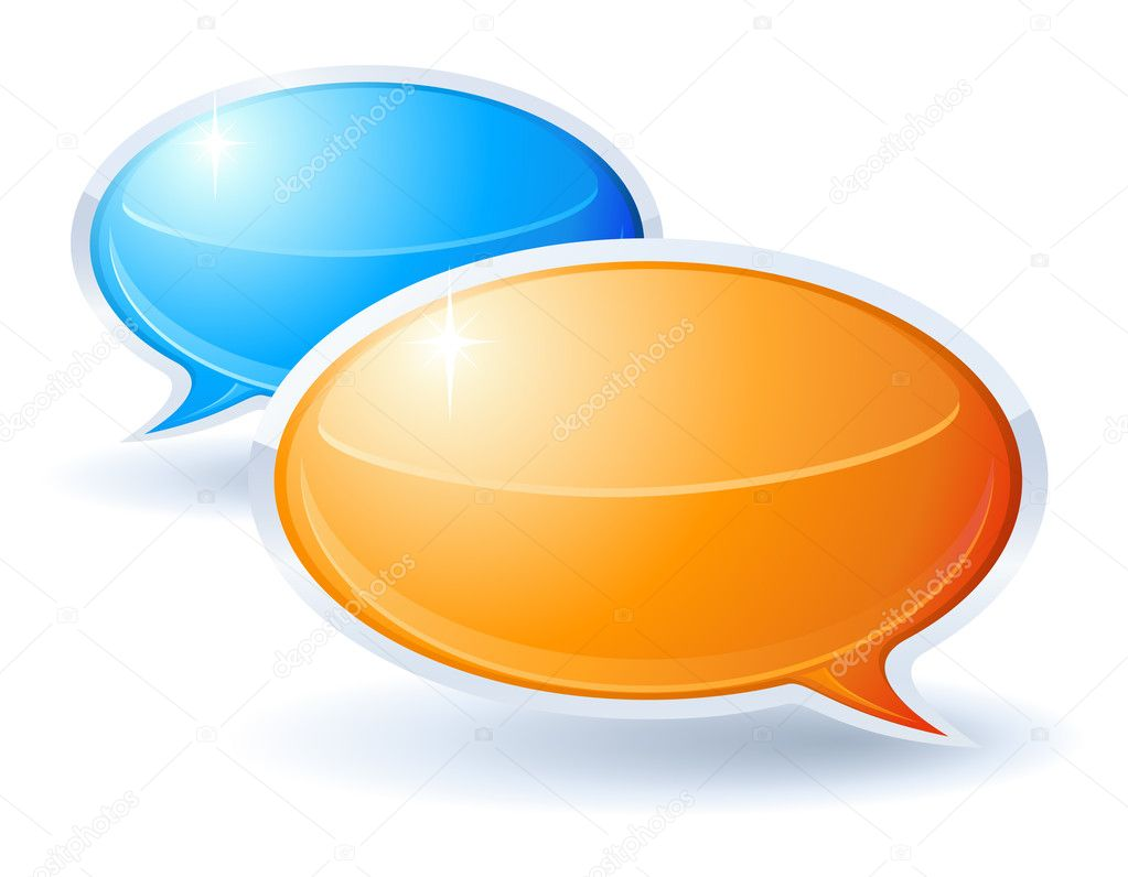 Speech bubbles orange and blue  Stock Vector #2855314