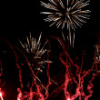 Stock Photo: Fireworks, red flares