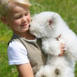Girl and Puppy — Stock Photo
