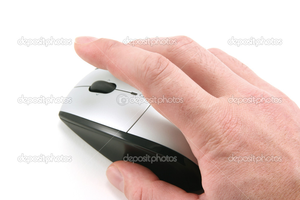 Hand of a man clicking a mouse button, top view, isolated on white, focus on the finger — Stock Photo #2902820