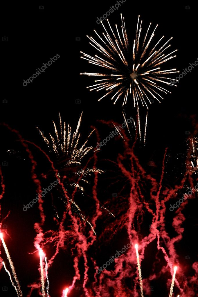 Red and white fireworks flares, over black — Stock Photo #2902867