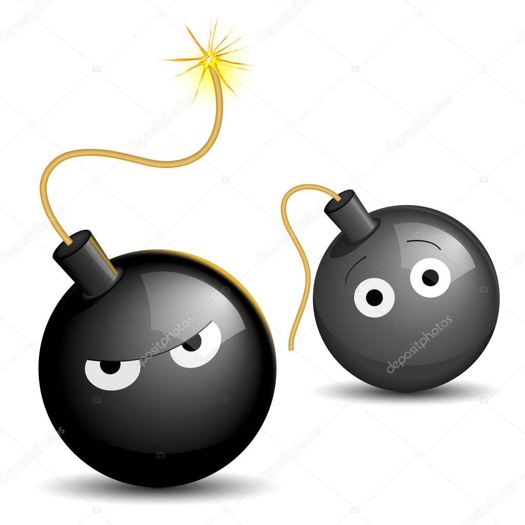 Vector illustration of a lighted bomb scaring another  Stock Vector #2902299