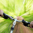 Mountain biking in the forest - Stock Photo