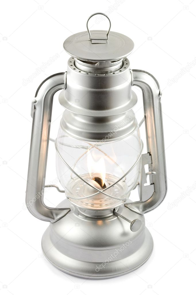 Oil lantern on fire isolated on white, clipping path included — Zdjęcie stockowe #2911551