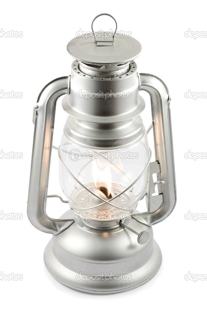 Oil lantern on fire isolated on white, clipping path included   #2911551