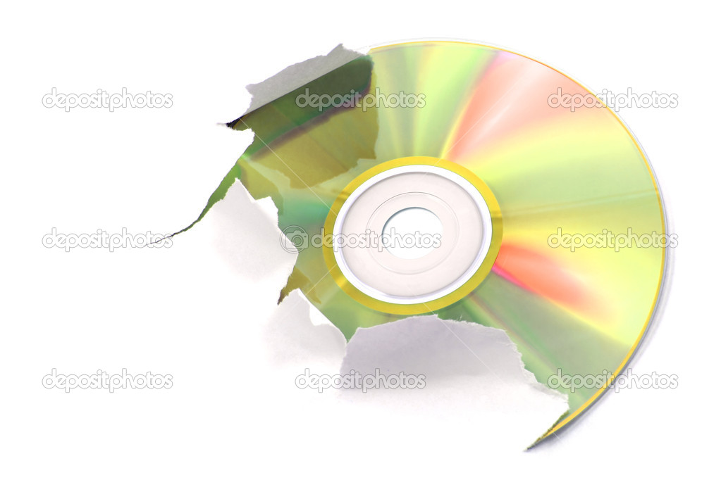 Gold cd tearing a white paper  Stock Photo #2911653