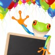 Little tree frog message - Stok Vektr