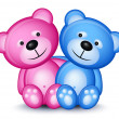 Teddy bear couple — Imagen vectorial