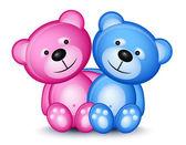 Teddy bear couple — Stock Vector