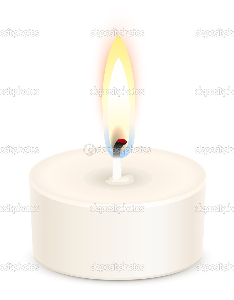 White tealight candle isolated on white — Stock Vector #3254674