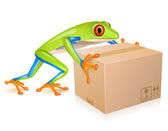 Delivery tree frog — Stock Vector