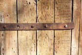 Weathered Wood with Rusty Hinge — Stock Photo