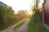 Sunset in suburban settlement — Stock Photo
