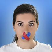 Cross Bandage no the mouth — Stock Photo