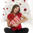 Happy woman with Chirstmas gifts — Stock Photo #4258971