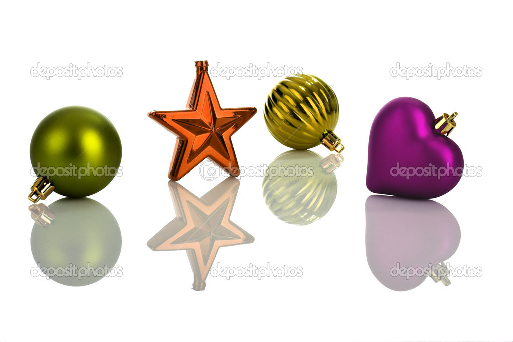 Photo of multicolored Christmas ornaments with reflection — Stock Photo #4258830
