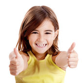 Meisje met duimschroef opwaarts — Stockfoto