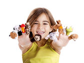 Playing with finger puppets — Stock Photo
