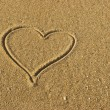 Love Heart on the Sand - ストック写真
