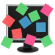Postit in the monitor — Foto Stock
