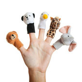 Hand with animal puppets — Stock Photo