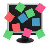 Postit in the monitor — Stock Photo