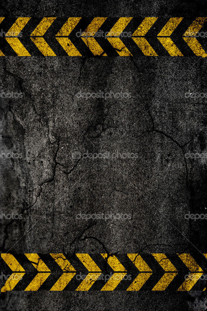 Asphalt background texture with construction signs — Stock Photo #4937828